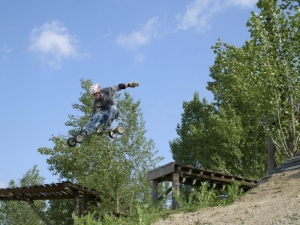 Riding the Roseraie bikepark